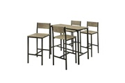 Sobuy Sobuy® ogt14 set de 1 table + 4 chaises ensemble table de bar + 4 tabourets de bar avec repose-pieds table mange-debout table haute cuisine