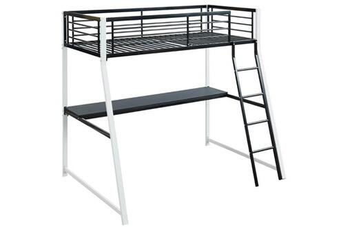 Vente-unique Lit mezzanine malicia - couchage 90x190cm - bureau intégré - coloris noir et blanc