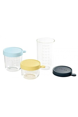 Beaba Coffret 3 portions verre (150 ml yellow/250 ml light blue/ 400 ml dark blue)