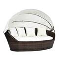 GENERIQUE Icaverne - lits d'extérieur superbe vidaxl chaise longue avec auvent marron résine tressée