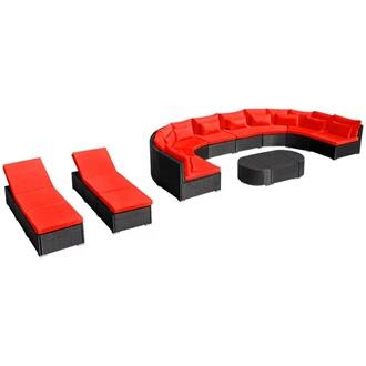GENERIQUE Icaverne - salons de jardin magnifique mobilier de jardin 13 pcs  avec coussins résine tressée rouge