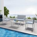 Ims Garden Salon de jardin résine tressée gris - ensemble 4 places - canapé + fauteuil + table -milos