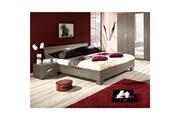 Price Factory Lit adulte design deux places santiago. Couchage 180x200 cm. Sommier inclus. Coloris cardiff cherry