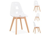 Le Stock Design Lot de 4 chaises design scandinave transparent - taikoo