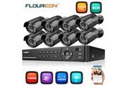 Floureon Floureon 1x8ch 1080p 1080n ahd dvr camera de surveillance, camera de securite, +8 x 3000tvl eu, noir