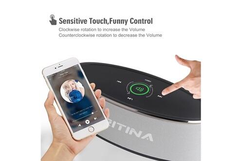 Tritina Haut-parleur sans fil hd son stéréo, commande tactile avec lumière de mode, bluetooth speaker micro intégré micro mains libres d'appels téléphoniques, fente pour carte tf et cable aux - argent