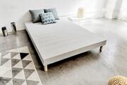 France Matelas Sommier tapissier gris, bois massif 140 x 190 cm