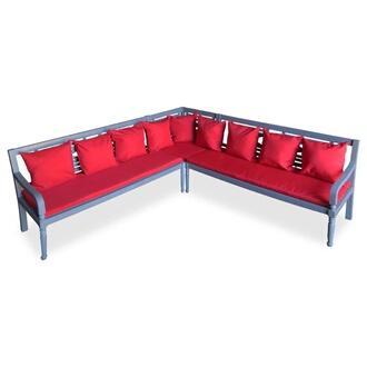 GENERIQUE Mobilier de jardin categorie khartoum mobilier de jardin 3 pcs  bois d\'acacia solide gris et rouge
