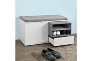 Sobuy Sobuy® fsr37-w banc de rangement à chaussures avec coussin rembourré, tiroir et étagères - l80xh46xp35cm