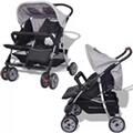 GENERIQUE Icaverne - poussettes pour bébés superbe vidaxl poussette à deux places acier gris et noir