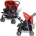 GENERIQUE Icaverne - poussettes pour bébés superbe vidaxl poussette à deux places acier rouge et noir