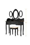 Langria Coiffeuse table et tabouret de maquillage-noir
