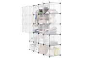 Langria 20 cubes armoire penderie diy langria etagères de rangement meuble modulable pour vêtements chaussures jouets transparent