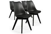 Giovanni Lot de 4 chaises diana noir