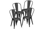 Giovanni Lot de 4 chaises atelier anthracite
