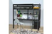 LE QUAI DES AFFAIRES Lit mezzanine studio 140x190 + 1 sommier + caisson 3 tiroirs + bureau + étagère / noir