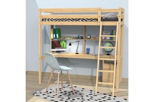 LE QUAI DES AFFAIRES Lit mezzanine studio 90x190 + 1 sommier + caisson 3 tiroirs + bureau + étagère / vernis naturel