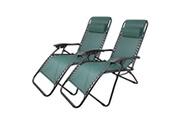 Leogreen Chaise longue inclinable, transat en textilène de jardin, 165 x 112 x 65 cm, vert, pack de 2, avec coussin, textilène, charge maximale: 100 kg