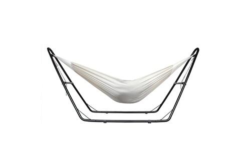 Leogreen Hamac, lit suspendu, beige, avec support type-h, coton, brésilien, capacité: pour 2 personnes