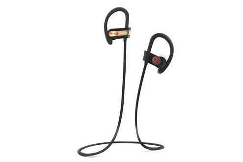 Tritina Sports écouteur bluetooth microphone intégré, casque sans fil avec forme mémoire écouteurs son stéréo pour le fonctionnement, jogging - noir avec l'or