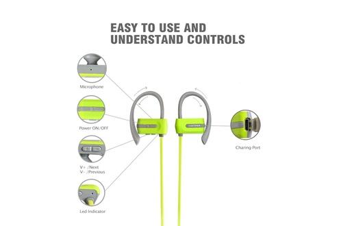 Tritina Sports écouteurs dans l'oreille - écouteurs bluetooth sweatproof w / mic - premium écouteurs mémoire forme confortable - hd stereo annulation de bruit pour gym fitness running workout - vert