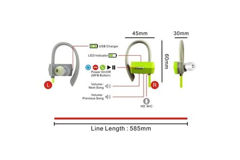 Tritina Casque sans fil microphone bluetooth 4.1 - casque sport stéréo bruit anti-bruit avec écouteurs en mousse de mémoire écouteur sportif antidérapant pour la course et le jogging - vert