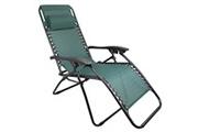 Leogreen Chaise longue inclinable, transat en textilène de jardin, 165 x 112 x 65 cm, vert, avec coussin, textilène, charge maximale: 100 kg