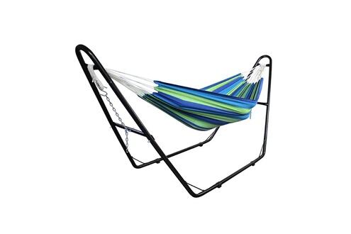 Leogreen Hamac, lit suspendu, vert/bleu, brésilien, avec support type-h, coton, capacité: pour 2 personnes