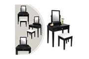 Leogreen Coiffeuse, table de maquillage, 1 tiroir, 1 miroir rectangulaire, noir, matériau: mdf, bois de paulownia