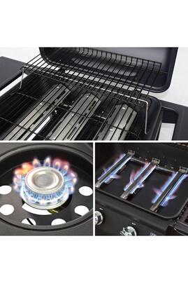 Alice's Garden Barbecue au gaz - jules 3 noir - cuisine extérieure 3 brûleurs + 1 feu latéral avec tablettes latérales et thermomètre