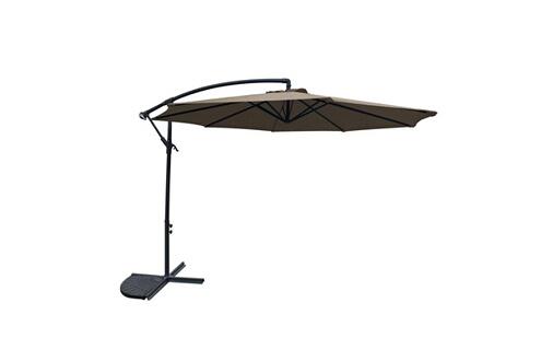 Avril Paris Salon d\'angle de jardin aluminium gris/noir + parasol déporté  rond 3m kaki - milano