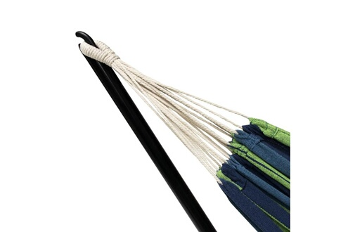 Idmarket Hamac avec support métal et toile rayée bleue et verte