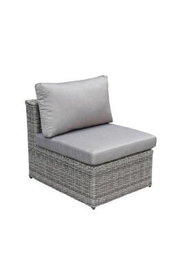 Alice\'s Garden Salon de jardin en résine tressée arrondie 5 places - romini  gris - coussins beige- méridienne, pouf, fauteuil, table basse
