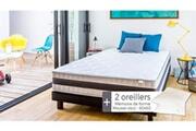 Hbedding Ensemble matelas mémoire + sommier 140x190 memo luxe hbedding + 2 oreillers à mémoire de forme 60x60cm