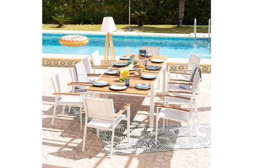 Delamaison Salon de jardin 10 places aluminium blanc et bois composite  maelig
