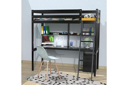 LE QUAI DES AFFAIRES Lit mezzanine studio 90x190 + 1 sommier + caisson 3 tiroirs + bureau + étagère / noir