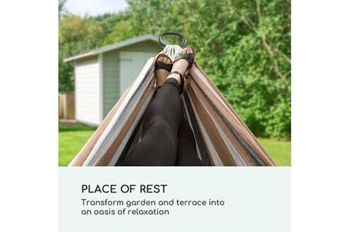 Blumfeldt Sri lanka swing hamac sur pied - 200 x 150cm - coton & polyester - charge 160kg - acier - toile rayée