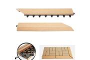 Mendler 2x barre de finition pour carreaux en wpc rhone, aspect bois ~ en teck, coupée sur le côté droit avec crochets