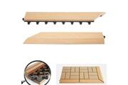 Mendler 2x barre de finition pour carreaux en wpc rhone, aspect bois ~ en teck,coupée sur le côté gauche avec crochets