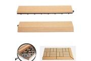 Mendler 2x barre de finition pour carreaux en wpc rhone, aspect bois ~ en teck, barre toute droite sans crochets