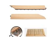 Mendler 2x barre de finition pour carreaux en wpc rhone, aspect bois ~ en teck,coupée sur le côté droit sans crochets