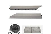 Mendler 2x barre de finition pour carreaux en wpc rhone, aspect bois ~ gris, coupée sur le côté gauche sans crochets