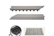 Mendler 2x barre de finition pour carreaux en wpc rhone, aspect bois ~ gris,coupée sur le côté gauche avec crochets
