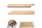 Mendler 2x barre de finition pour carreaux en wpc rhone, aspect bois ~ en teck,coupée sur le côté gauche sans crochets