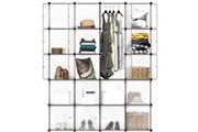 Langria 20 cubes armoire penderie diy etagères de rangement meuble modulable pour vêtements chaussures jouets blanc