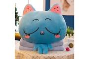 Prixwhaou Coussin-blue cat pattern 3 en 1 peluche couverture oreiller air condition quilt multifonctionnel bureau coussin de voiture