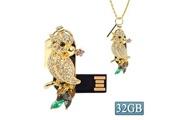 Prixwhaou Clés usb-style de collier de bijoux en forme de diamant de perroquet usb flash disk