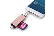 Prixwhaou.fr Clé usb et lecteur de carte-3 en 1 type-c et micro usb et usb 2.0 3 ports sd / tf lecteur de carte pour otg enabled smartphones / pc (or rose)