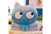 Prixwhaou Coussin-blue eyes cat pattern 3 en 1 peluche couverture oreiller air condition quilt multifonctionnel bureau voiture coussin