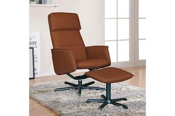 Fauteuil de relaxation en pu marron clair avec repose-pieds brigitte